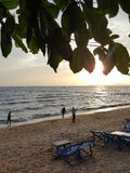 Beachlife pattaya thailand. Evening view along the pattaya beach Royalty Free Stock Photo
