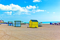Beachlife at the white beach in South Miami Royalty Free Stock Images