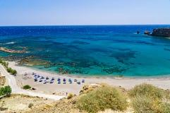 Beachscape de la playa de Triopetra, isla de Creta fotografía de archivo libre de regalías