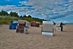 Beachscene at baltic sea usedom Stock Photos