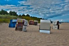 Beachscene bij Oostzeeusedom Stock Foto's