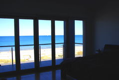 Beachside Bedroom. Photograph taken from a beach house at Henley Beach looking out to the Gulf St Vincent (Adelaide, Australia royalty free stock photography