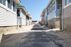 Beachside Bungalows. POINT PLEASANT, NJ - APRIL 5: A row of beachside bungalows await summer at the Jersey shore. Photo taken April 5, 2014 stock image