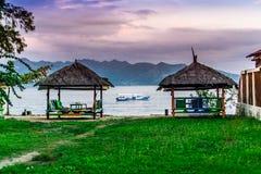 Beachside cabanas i Gili Air Arkivbild