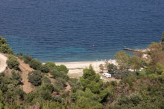 Beachside camping in Greece Royalty Free Stock Images