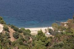 Beachside die in Griekenland kampeert Royalty-vrije Stock Afbeeldingen
