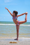 Beachside Gymnastics Royalty Free Stock Photography