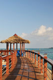 Beachside pavilion and walkway Royalty Free Stock Images