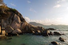 Beachside rocks, located between Lamai and Hua Thanon, Koh Samui, Thailand. Grandmother Hin Yai, The Grandma and Grandpa beachside rocks, located between Lamai stock photography