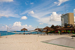 Beachside Volleyball Court by Hotels Stock Images