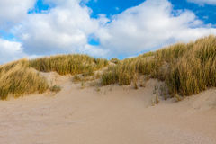 Beachside Zeeland. With cloudy sky stock images