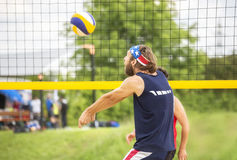 Beachvolley ball player forearm pass Stock Photo