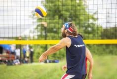 Beachvolley ball player forearm pass Stock Photo
