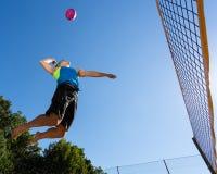 Beachvolleyba´ller. An athlete is playing beachvolleyball Royalty Free Stock Photography