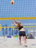 Beachvolleybal. On the beach in Holland Stock Photos