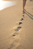 Beachwalk with footprints Stock Photos
