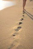 Beachwalk met voetafdrukken Stock Foto's