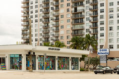 Beachware store and an apartment building Royalty Free Stock Photo