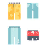 Beachwear bikini cloth fashion looks vacation lifestyle men collection sea light beauty clothes vector illustraton Royalty Free Stock Images