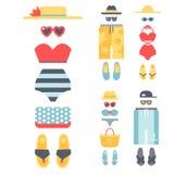 Beachwear bikini cloth fashion looks vacation lifestyle women collection sea light beauty clothes vector illustraton Stock Image