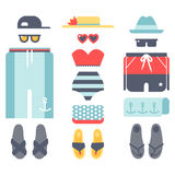 Beachwear bikini cloth fashion looks vacation lifestyle women collection sea light beauty clothes vector illustraton Royalty Free Stock Photo