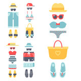 Beachwear bikini cloth fashion looks vacation lifestyle women collection sea light beauty clothes vector illustraton Royalty Free Stock Photography