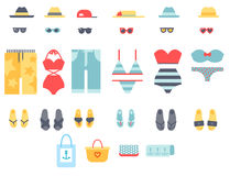 Beachwear bikini cloth fashion looks vacation lifestyle women collection sea light beauty clothes vector illustraton. Travel different flat vector summer male vector illustration