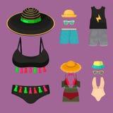 Beachwear bikini mody spojrzeń stylu życia kobiet morza światła sukiennego urlopowego inkasowego piękna odzieżowy wektorowy illus ilustracja wektor