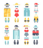 Beachwear different flat vector summer icons, beachwear cloth fashion looks. Royalty Free Stock Image