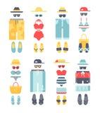 Beachwear different flat vector summer icons, beachwear cloth fashion looks. Royalty Free Stock Image