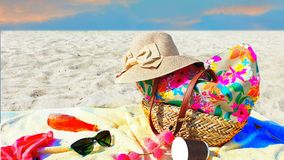 Free Beachwear  Handbag Women  Accessories Summer Beachwear Hat Sneakers Red Dress Sunglasses And Cup Of Coffee On Yellow Towel On Sand Royalty Free Stock Photo - 160894785