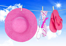Beachwear for the holidays. On a washing line Stock Images