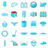 Beachwear icons set, cartoon style. Beachwear icons set. Cartoon set of 25 beachwear vector icons for web isolated on white background Stock Photo