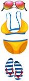 Beachwear rzeczy z bikini i okularami przeciwsłonecznymi ilustracji