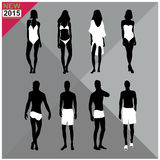 Beachwear / Swimwear swimsuits summer attire women men black silhouettes editable,set,collection Stock Images