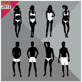 Beachwear / Swimwear swimsuits summer attire women men black silhouettes editable,set,collection Stock Photography