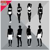Beachwear / Swimwear swimsuits summer attire women men black silhouettes editable,set,collection Royalty Free Stock Images