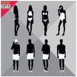 Beachwear / Swimwear swimsuits summer attire women men black silhouettes editable,set,collection Stock Photo
