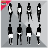 Beachwear / Swimwear swimsuits summer attire women men black silhouettes editable,set,collection Stock Photo