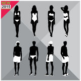 Beachwear / Swimwear swimsuits summer attire women men black silhouettes editable,set,collection Stock Image