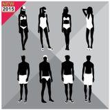 Beachwear / Swimwear swimsuits summer attire women men black silhouettes editable,set,collection Stock Photos