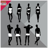Beachwear / Swimwear swimsuits summer attire women men black silhouettes ,set,collection Royalty Free Stock Photography