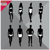 Beachwear / Swimwear swimsuits summer attire women men black silhouettes ,set,collection Stock Images