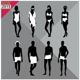 Beachwear / Swimwear swimsuits summer attire women men black silhouettes ,set,collection Royalty Free Stock Images