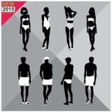 Beachwear / Swimwear swimsuits summer attire women men black silhouettes ,set,collection Stock Photo