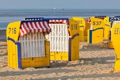 Beachwickerchairs strandkorb Stock Photo