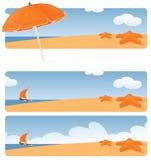 Beachy baner royaltyfri illustrationer