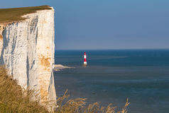Beachy Head chalk cliff closeup with the lighthouse Stock Photography