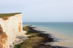 Beachy Head. Chalk headland and lighthouse at Beachy Head in Southern England royalty free stock photo