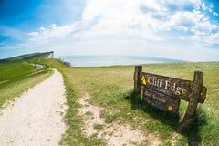 Beachy Head Cliff Edge fisheye Stock Photography